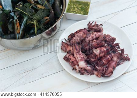 Grilled And Boiled Seafood At Thai Seafood Market