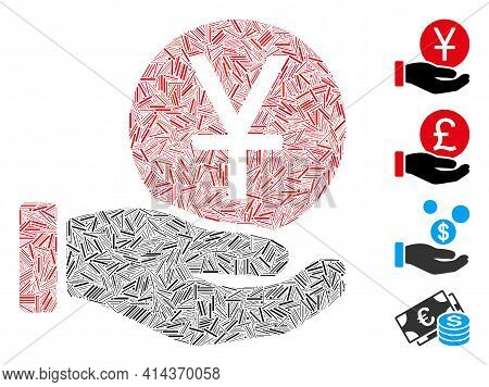 Linear Collage Yuan Coin Payment Icon Constructed From Straight Elements In Different Sizes And Colo