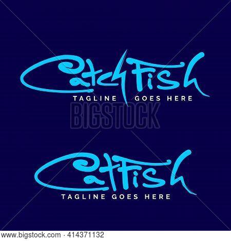 Catch Fish Or Cat Fish Wordmark Logo Set. Vector