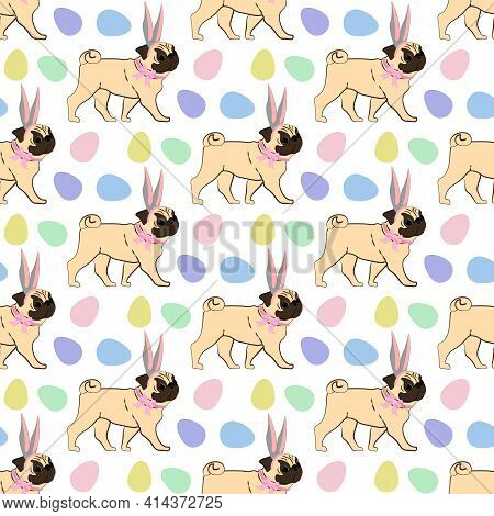 Easter Pug Wearing Bunny Ears Seamless Pattern On The White Background. Vector Illustration