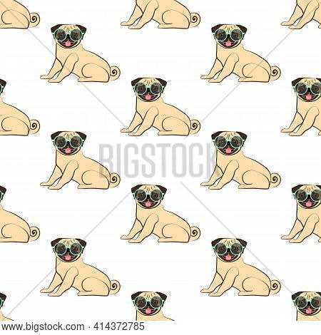 Pug In Sun Glasses Seamless Pattern On The White Background. Vector Illustration