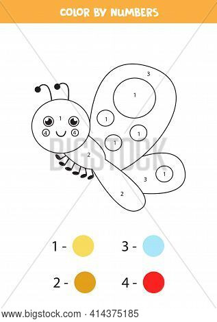 Coloring Page With Cute Butterfly. Color By Numbers 1-5 For Kids.