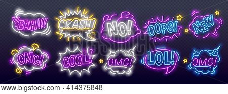 Neon Comic Bubbles Set In Neon Style. Expressions Cool, Oops, Wow, Omg, Crash, Yeah And Other. Night