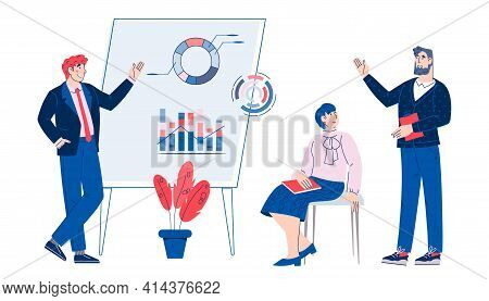 Business Seminar With A Speaker Giving A Presentation. Corporate Vocational Training, Vector Cartoon