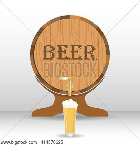 Beer Barrel With A Glass Of Beer. Vector Illustration. Vector.
