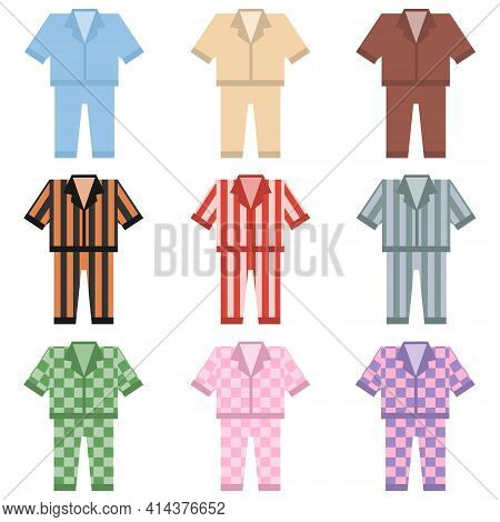 Pajamas. Set Of Womens And Mens Pajamas On A White Background. Vector Illustration. Vector.