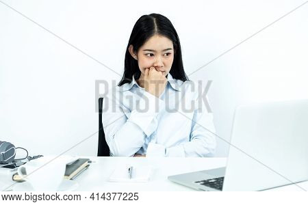 Working Asian Women Feel Stressed, Dismal Tired From Work, Migraine Headaches From Hard Work While W