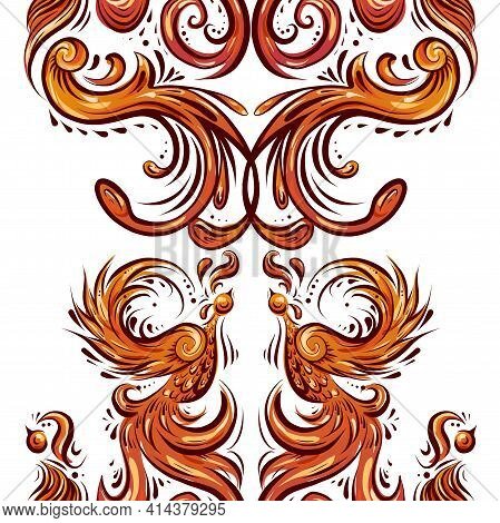 Seamless Vertical Border With Vintage Phoenix With Curls And Feathers. Background Of Orange Birds Wi