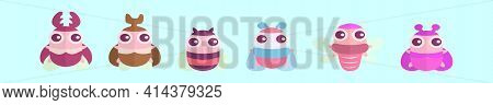 Set Of Insects Cartoon Icon Design Template With Various Models. Modern Vector Illustration Isolated