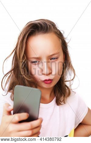 Young Girl Taking A Duck Face Selfie, With Beautifying Filter. Social Media And Mental Health. Beaut