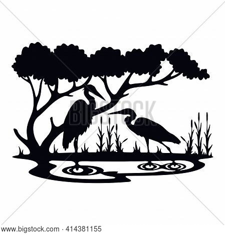 Herons Wildlife, Wildlife Stencils - Forest Silhouettes For Cricut, Wildlife Clipart, Png Cut File,