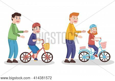 Father Teaches Child To Ride A Bicycle. Child With Helmet Riding A Bicycle. Vector Illustration