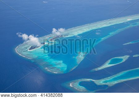 Aerial View Of Maldives Atolls Is The World Top Beauty. Maldives Tourism. Exotic Travel Destination