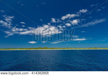 Blue Sea Water Seascape Abstract Nature Background. Panoramic View, Shades Of Blue. Idyllic Ocean Vi