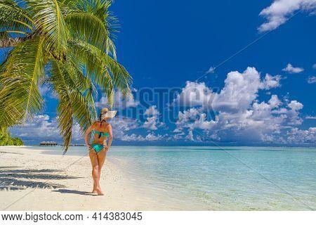 Bikini Model On Tropical Island Beach With Palm Tree And Sea Horizon, Shore. Sexy Woman On Vacation
