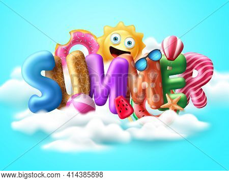Summer 3d Text Balloon Vector Banner Design. Summer Balloons With Colorful Beach Elements Like Float