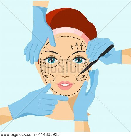 Vector Illustration Of Hands Near Woman Face, Symbol Of Plastic Surgery. Skin Anti Aging, Beauty Tre