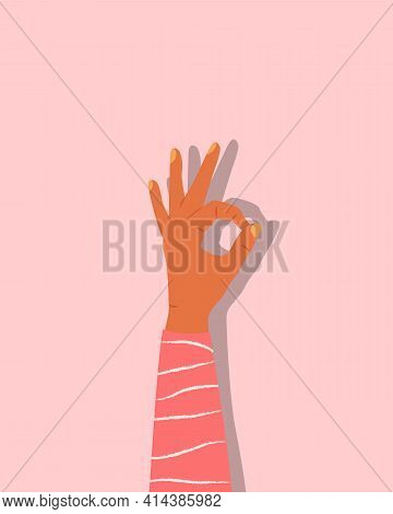 Hand Showing Gesture Isolated On Background. Ok Human Hand Gesture. Trendy Colorful Female Hand Gest
