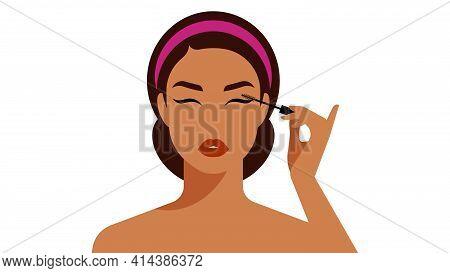 Coloring Eyelashes Mascara. Young Woman Doing Makeup, Paints Her Eyelashes With Black Mascara. Close