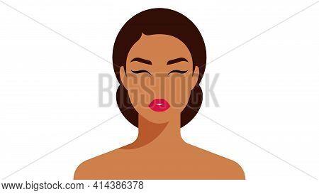 Young Woman Portrait. Closeup Female Face. Brunette. Vector Flat Style Illustration.