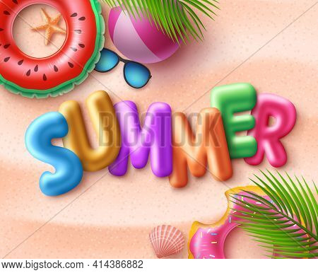 Summer Beach Vector Background Design. Summer 3d Text With Colorful Beach Elements Like Floaters, Li