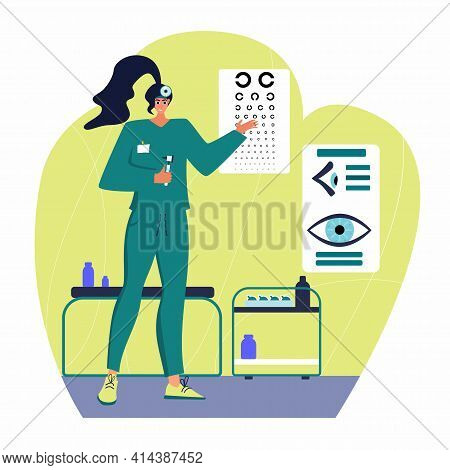 Optical Eyes Test Illustration. Ophthalmology Concept. Ophthalmologist Checks Patient Sight.