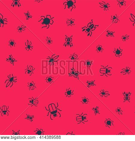 Set Stink Bug, Spider, And Beetle Deer On Seamless Pattern. Vector