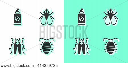 Set Larva Insect, Spray Against Insects, Beetle Bug And Insect Fly Icon. Vector