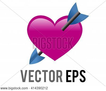 Vector Shocking Pink Heart Icon With Love Cupid Arrow