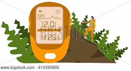 Altimeter Show Altitude Figure Background Man Climbing Hill With Modern Flat Style