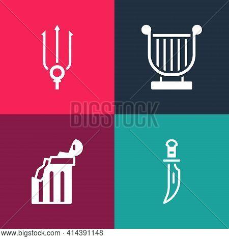 Set Pop Art Dagger, Broken Ancient Column, Ancient Lyre And Neptune Trident Icon. Vector