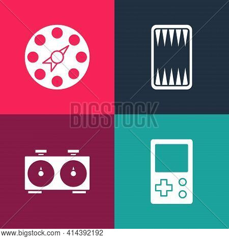 Set Pop Art Tetris, Time Chess Clock, Backgammon Board And Twister Game Icon. Vector