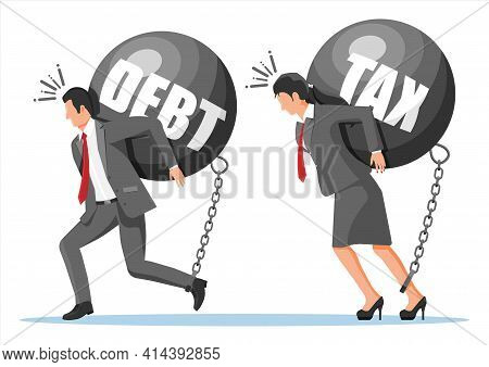 Business People Chained To Big Heavy Debt Weight With Shackles. Character Tied By Chain To Large Tax