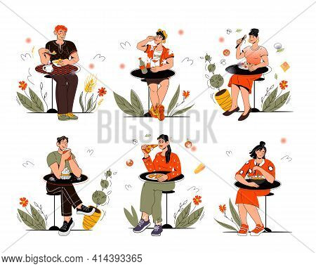 Set Of Isolated Characters Of People Sitting At Table And Eating Various Food, Vector Illustration I