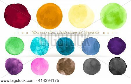 Watercolor Circle Vector. Graphic Drops Illustration. Colorful Dots Design. Brush Stroke Watercolor