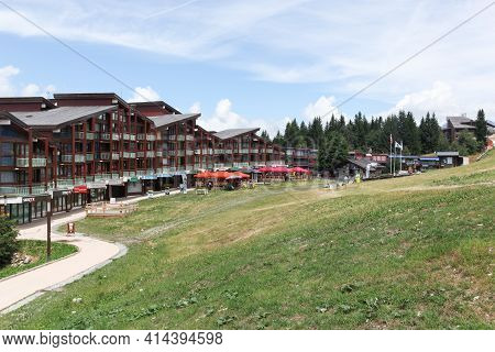 Les Arcs, France - July 23, 2015:  View Of Les Arcs Village In Summer In Savoie, France