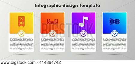 Set Stereo Speaker, Home Stereo, Music Note, Tone And Xylophone. Business Infographic Template. Vect