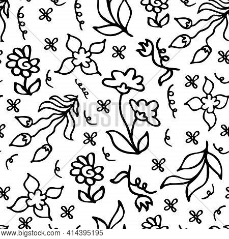 Cute Childish Floral Doodle Outline Black And White Monochrome Vector Seamless Pattern. Simple Hand