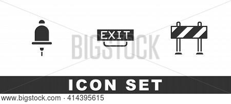 Set Ringing Alarm Bell, Fire Exit And Road Barrier Icon. Vector