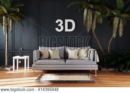 Elegant Living Room Interior With Vintage Sofa Between Large Palm Trees; 3d Concept Immersive Entert