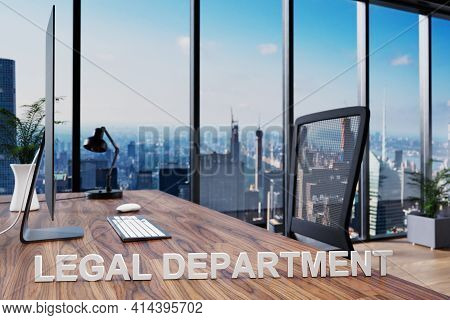 Legal Department; Office Chair In Front Of Workspace With Computer And Skyline View; Lawyer Concept;