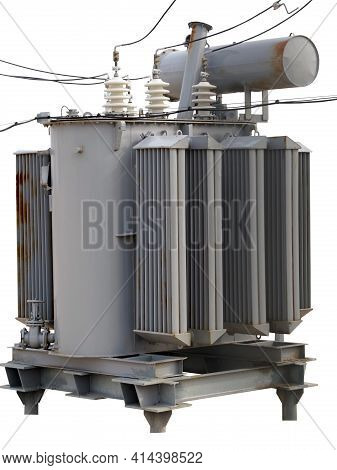 Electric Tower High Voltage And High Voltage Transformer Post On White Background