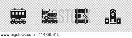 Set Passenger Train Cars, Vintage Locomotive, Broken Rails On Railway And Railway Station Icon. Vect