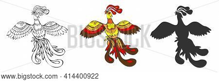 Phoenix, Fire Bird Or Fenghuang Fabulous Character. \\\\na Mythical Fiery Peacock Flying With Fluffy