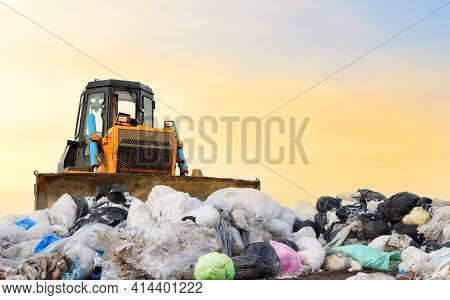 Garbage Dump With Plastic Bags And Food Waste. Recycling Of Construction Waste On Junk Yard. Refuse