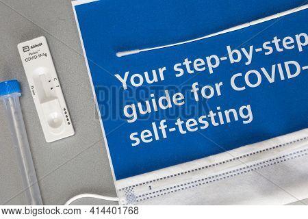 Abbott Panbio Covid-19 Ag, Self Test Kit Coronavirus For At Home On Gray Background, Covid-19, Healt