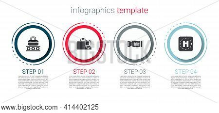 Set Conveyor Belt With Suitcase, Suitcase, Airline Ticket And Helicopter Landing Pad. Business Infog