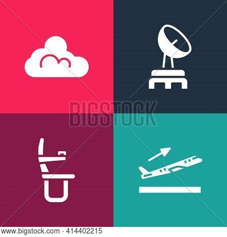 Set Pop Art Plane Takeoff, Airplane Seat, Radar And Cloud Weather Icon. Vector
