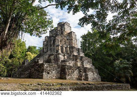 El Castillo Ruins Of Old Mayan Temple In Muyil, Quintana Roo, Yucatan Peninsula, Mexico