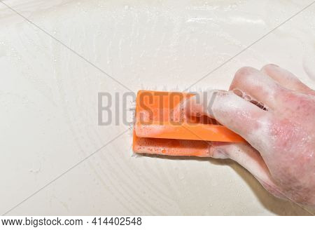 Washing Brush With Detergent And Foam While Washing. Cleaning Kitchen, Bathroom Or Toilet. Wash Dish